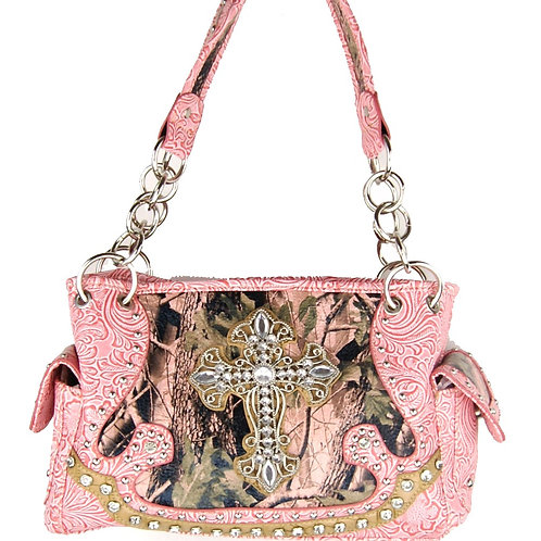 New Rhinestone Metal Cross Camou Cowgirl Concealed Carry Handbag In Multi Color