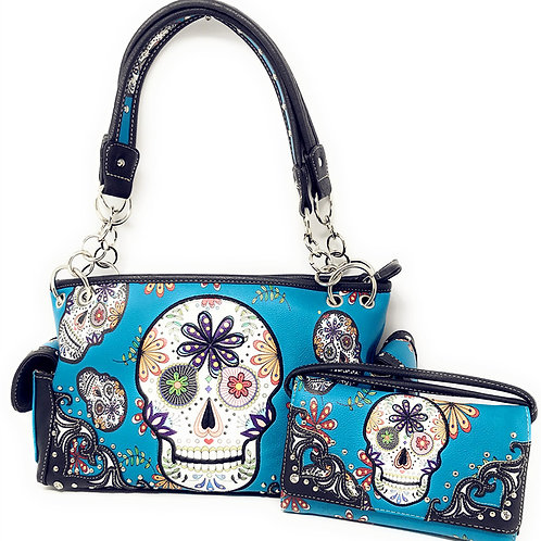 Texas West Conceal Carry Rhinestone Flora Candy Skull Handbag Purse / Wallet