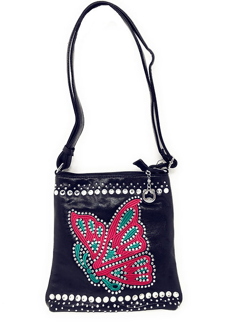 Butterfly Rhinestone Cross Body Handbag Messenger Bag In Multi Colors