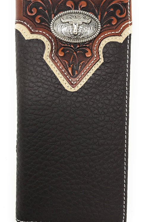Western Tooled Genuine Leather Longhorn Men's Long Bifold Wallet in 2 colors