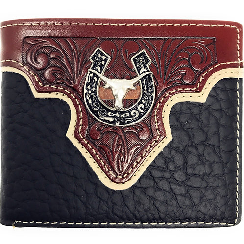 Genuine Leather Floral Tooled Longhorn Horseshoe Concho Mens Short Bifold Wallet