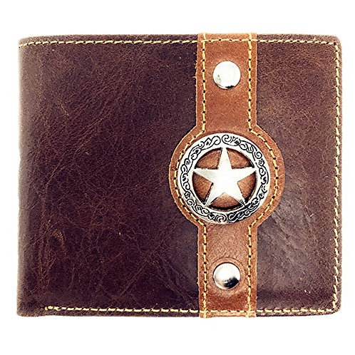 Texas West Tooled Lone Star Genuine Glossy Leather Men's Wallet
