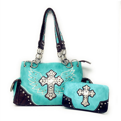 Concealed Carry Shoulder Handbag Western Purse/Matching Wallet/Rhinestone Cross