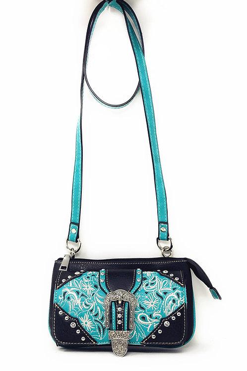 Western Rhinestone Flora Embroider Laser Cut Buckle Wallet CrossBody Clutch Bag