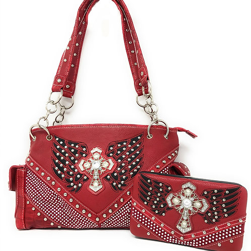 Premium Western Rhinestone Studded Angel Wing Cross Shoulder Handbag/Walllet Set