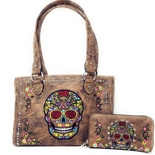 Western Womens Sugar Skull Rhinestone Flora Embroidery Conceal Carry Handbag Set