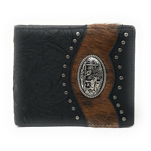 Western Genuine Tooled Leather Cow Fur Praying Cowboy Mens Bifold Short Wallet
