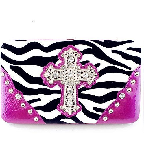 Rhinestone Zebra Cross Women's Western Wallet With Extra Checkbook