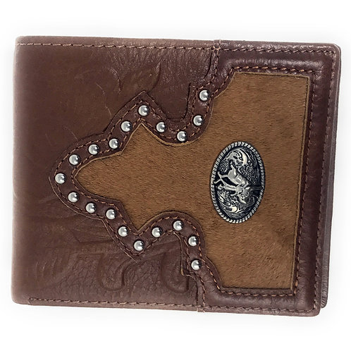 Western Genuine Tooled Leather Cowhide Rodeo Men's Bifold Short Wallet