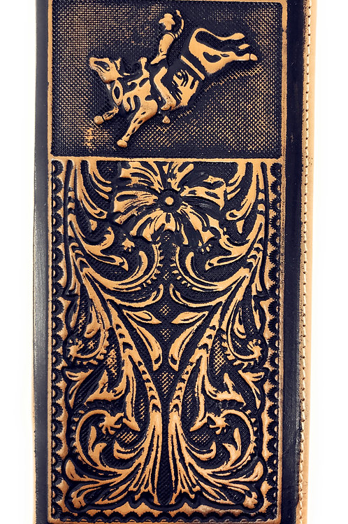Genuine Leather Basketweave Floral Tooled Rodeo Mens Long Bifold Wallet 2 colors