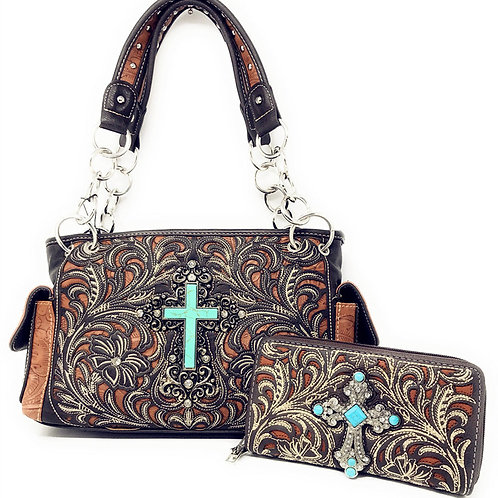 Montana West Rhinestone Cross Flower Embroidery Handbag Purse / Matching Wallet