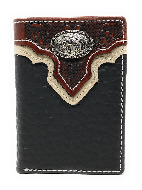 Western Tooled Genuine Leather Horse Men's Short Trifold Wallet in 2 colors