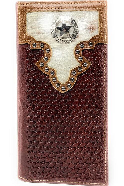 Western Men's Cow Fur Genuine Leather Basketweave Lone Star Bifold Wallet
