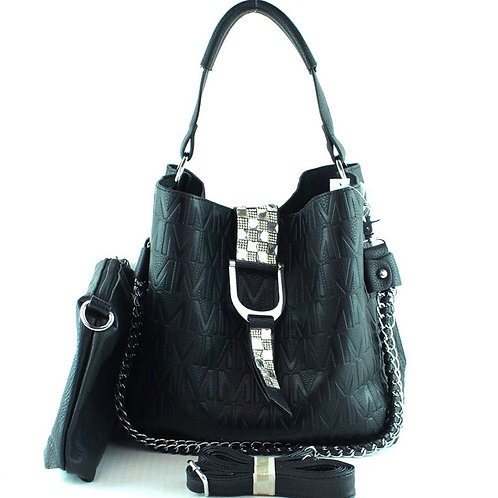 Rhinestone Studded Buckle Fashion Tote Bag with Magnet Closure In Multi Color