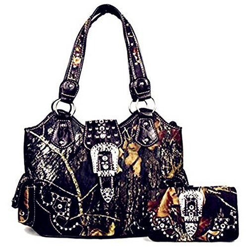 Large Western Concealed Carry Weapon Purse Camo Belt Buckle Handbag / Wallet