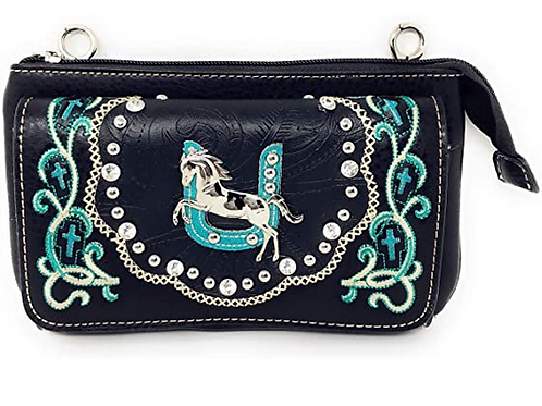 Western Rhinestone Embroidery Cross Horse Wallet Cross Body Clutch Bag Purse