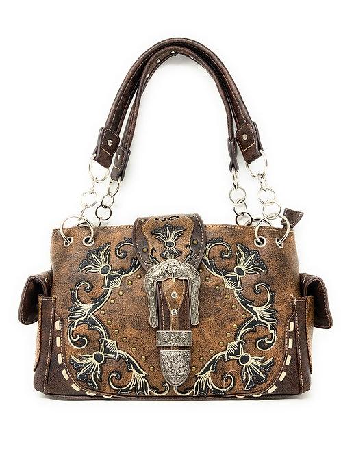 Western Rivet Flora Embroidery Buckle Shoulder Concealed Carry Handbag