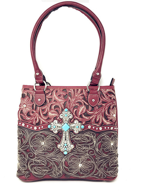 Floral Leaf Stitched Embroidered Rhinestone Cross Womens Concealed Carry Handbag