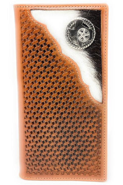 Basketweave Genuine Leather Texas State Map Long Cowhide Stud Bifold Wallet