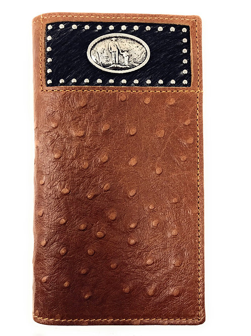 Western Men Brown Genuine Leather Ostrich CowFur Metal Emblem Tooled Long Wallet