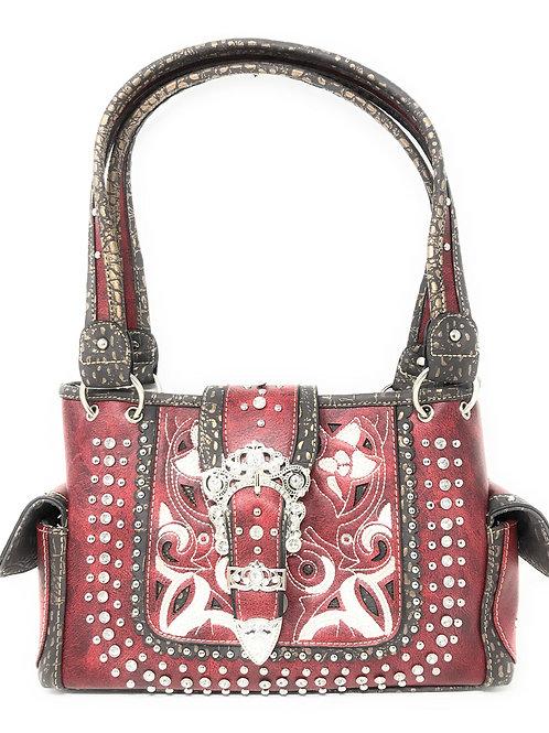 Concealed Carry Shoulder Handbag Western Purse With Rhinestone Buckle