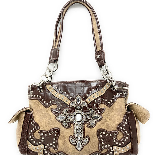 Texas West Rhinestone Cross Embroidered Western Handbag Purse in 4 colors