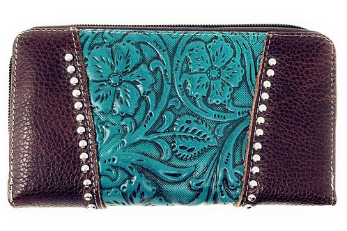Premium Western Genuine Leather Floral Embroidered Womens Wallet In Multi Color