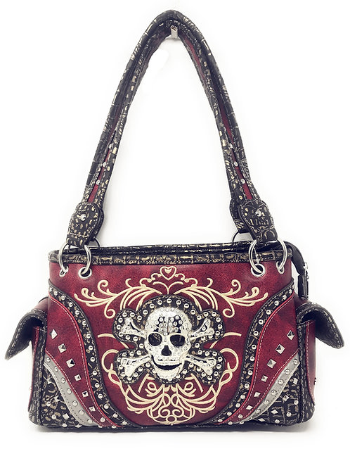 Concealed Carry Rhinestone Skull Embroidered Soft PU Leather Womens Handbag