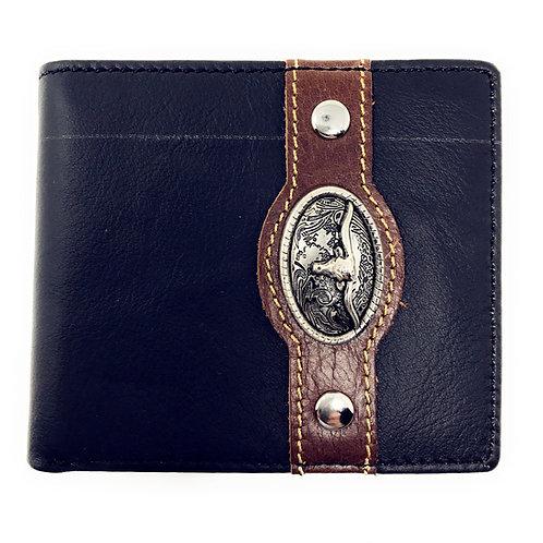Western Genuine Leather Mens Metal Concho Longhorn Bifold Short Wallet
