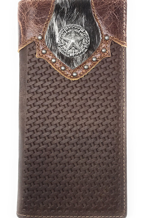 Texas West Men's Cow Fur Cowhide Genuine Leather Chrome Star Basketweave Bifold