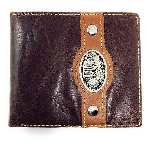 Western Genuine Leather Mens Metal Concho Cowboy Family Bifold Short Wallet