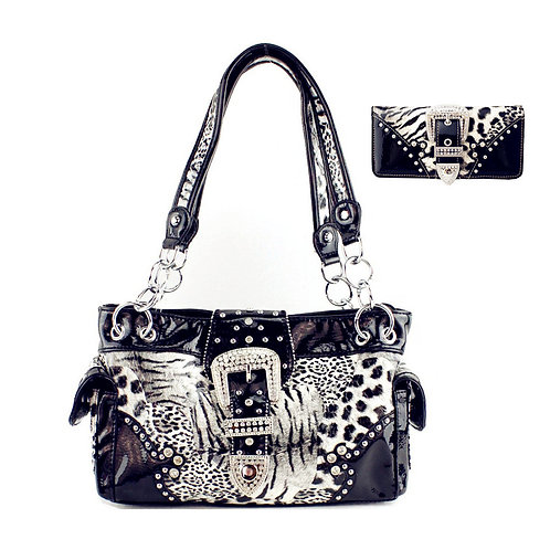 Leopard Buckle Conceale Carry Women's Handbag With Matching Wallet