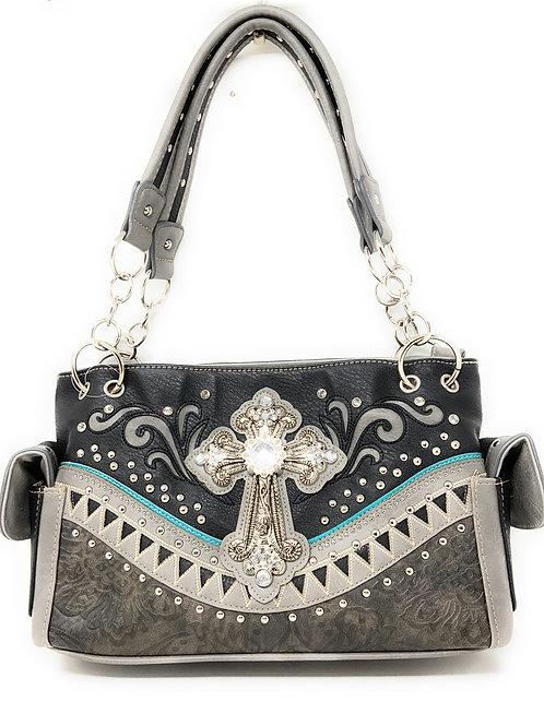 Western Embroidered Concealed Carry Rhinestone Cross Purse Handbag