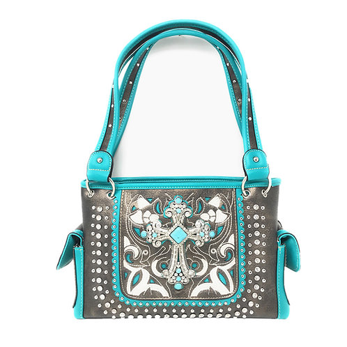 Concealed Carry Rhinestone Flora Embroidery Cross Handbag Purse In Multi Colors