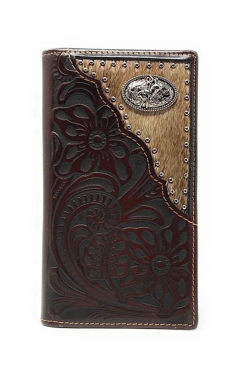 Western Tooled Genuine Leather Cowhide Cow fur Rodeo Men's Long Bifold Wallet in