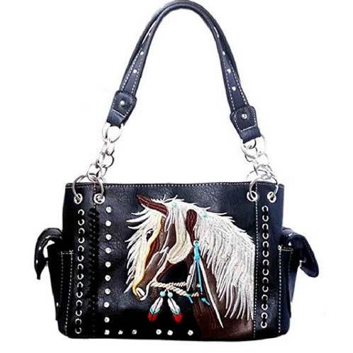 Western Dales Pony Horse White Mane Embroidery Feather Conceal Carry Women Handb