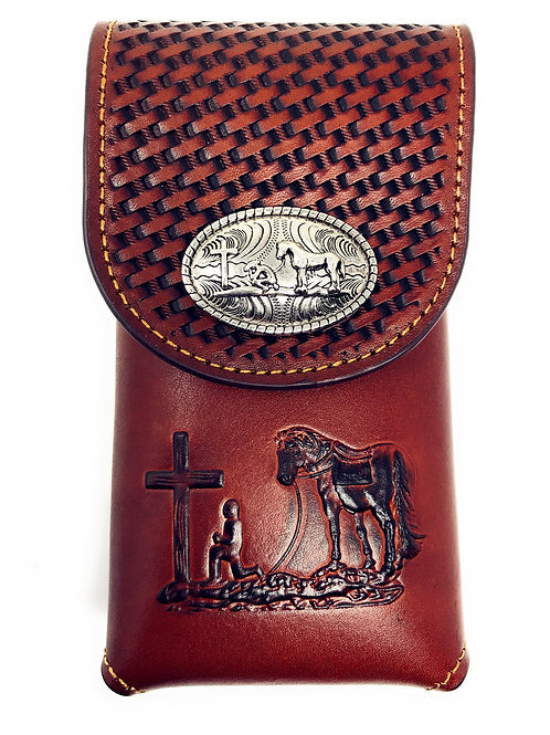 Western Cowboy Tooled Basketweave Leather Praying Cowboy Concho Cellphone Case