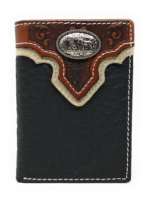 Western Tooled Genuine Leather Praying Cow Boy Men's Short Trifold Wallet