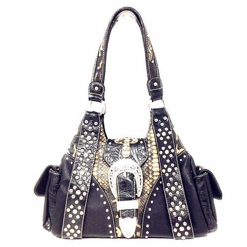 Western Rhinestone Cross Buclke Style Handbag Purse with Magnetic Closure