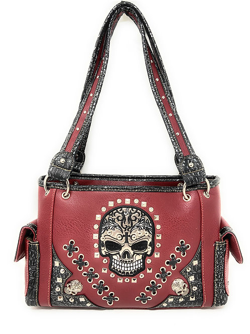 Texas West Women's Embroidered Flora Sugar Skull Purse Handbag