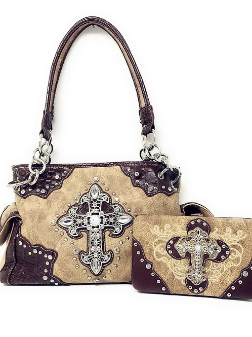 Western Rhinestone Cross Leather Cowgirl Womens Handbag With Matching Wallet