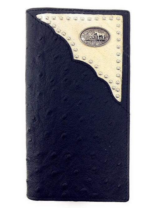 Western Men Ostrich Genuine Leather PrayingCowboy Long Cowfur Stud Bifold Wallet