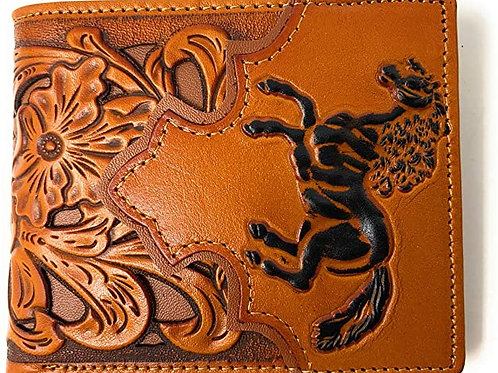 Men's Leather Horse Floral Tooled Laser Cut Lone Star Short Wallet in 9