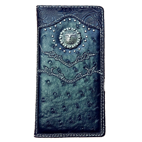 Longhorn Men's Collection Concho Tooled Leather Wallet, Extra Checkbook. Black