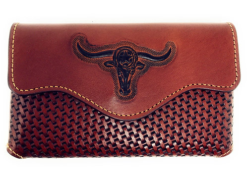 Western Cowboy Horizontal Basketweave Leather Longhorn Cellphone Belt HolderCase