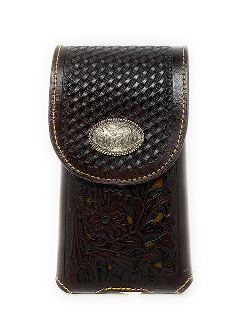 WesternTooled Floral Leather Rooster Concho Belt Loop Cell Phone Holster