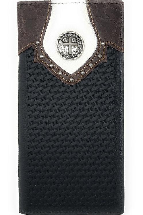 Texas West Men's Cow Fur Cowhide Genuine Leather Cross Basketweave Bifold Wallet