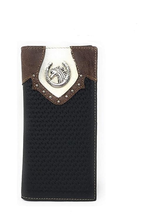 Men's Cow Fur Cowhide Genuine Leather Horse Basketweave Bifold Wallet