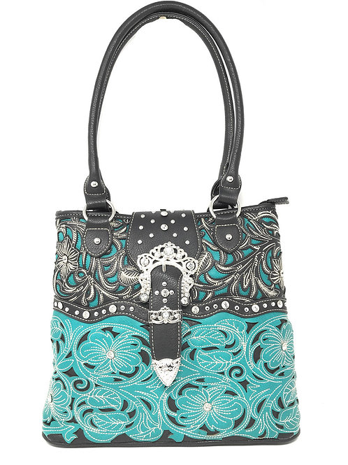 Floral Leaf Stitched Embroidered Rhinestone Buckle Women Concealed Carry Handbag