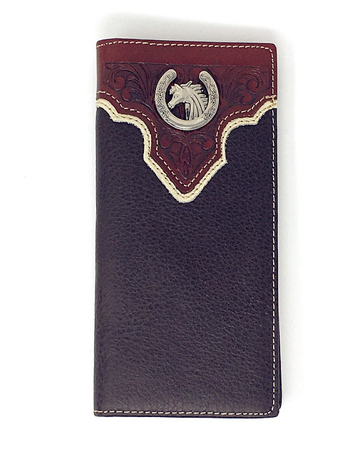 Premium Genuine Leather Western Horse Mens Bifold Wallet in 2 Colors